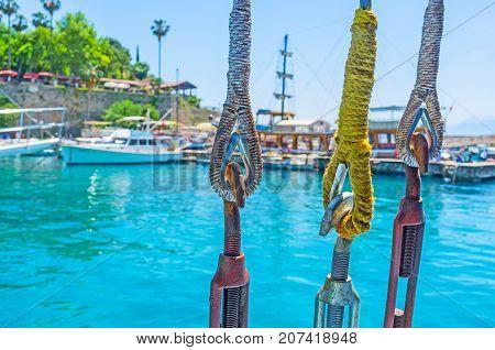 The Hooks And Ropes Of A Ship Mast, Antalya