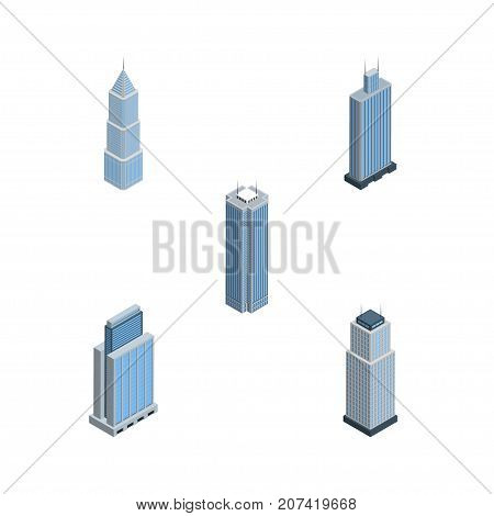 Isometric Skyscraper Set Of Tower, Skyscraper, Business Center And Other Vector Objects