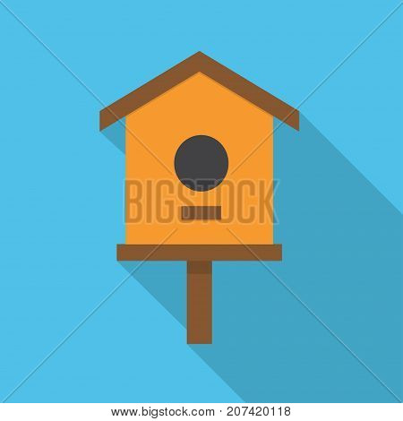 cartoon birdhouse isolated on blue background wooden birdhouse vector nesting box