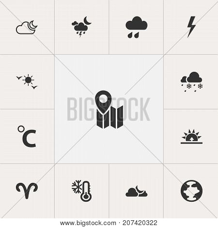 Set Of 13 Editable Climate Icons. Includes Symbols Such As Celestial, Lightning, Morning And More