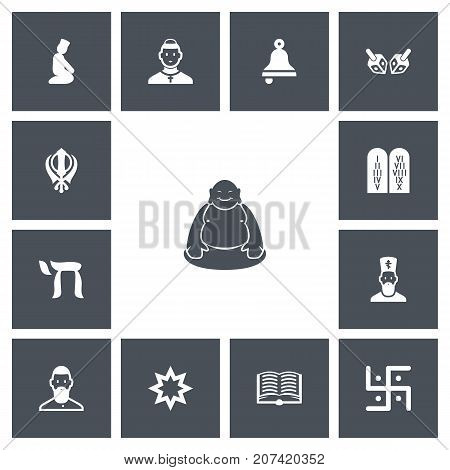 Set Of 13 Editable Dyne Icons. Includes Symbols Such As Tegh, Om Aum, Ringer And More