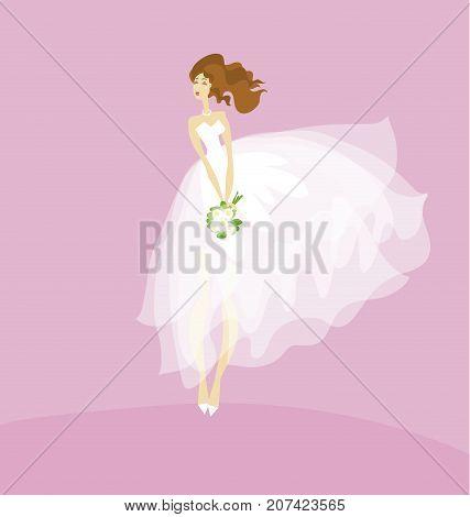 elegant bride in white dress concept. white transparent veil vector illustration