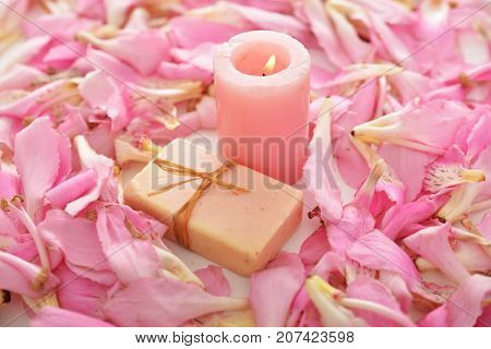 Many pink tropical petals and candle ,soap on whit