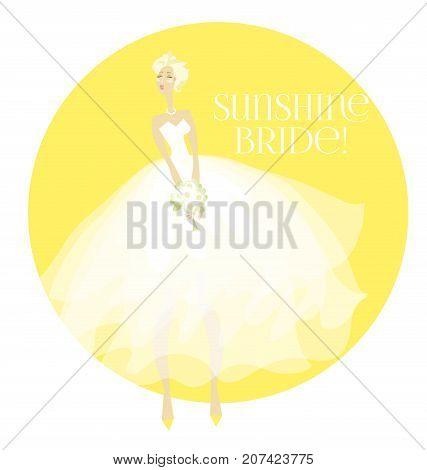 sunny summer elegant bride in white dress concept. white transparent veil vector illustration