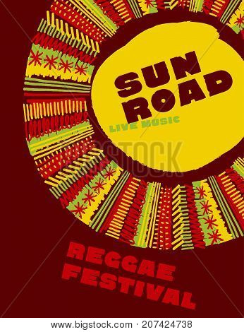 reggae music classic color concept poster. Jamaica style vector illustration with tribal hand drawn folk style sun