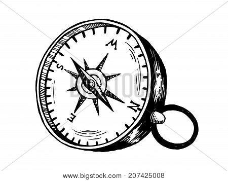 Vintage compass engraving vector illustration. Navigation symbol. Scratch board style imitation. Hand drawn image.