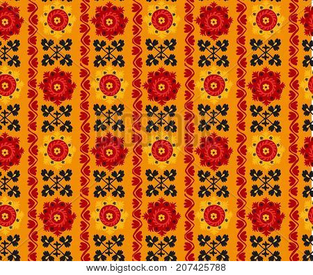 black, red and orange traditional asian carpet embroidery Suzanne. Uzbek ethnic decorative floral motif for rug, fabric, tablecloth
