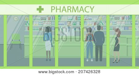 People in the pharmacy. View from the street. The pharmacist stands near the shelves with medicines. In the green hall there are visitors. Vector illustration.