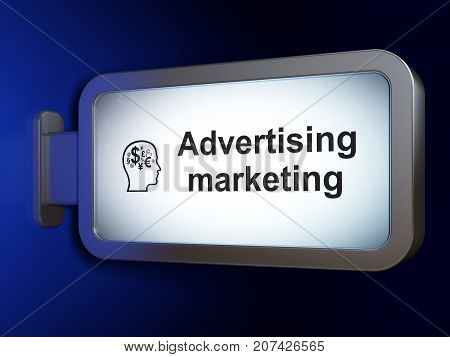 Advertising concept: Advertising Marketing and Head With Finance Symbol on advertising billboard background, 3D rendering