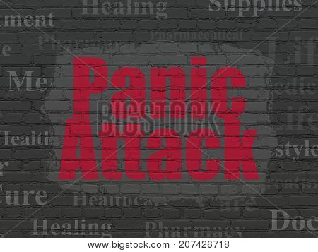 Healthcare concept: Painted red text Panic Attack on Black Brick wall background with  Tag Cloud