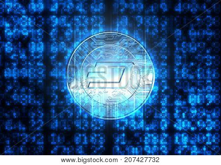 Digital Data Figures And Cryptocurrency Hologram