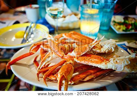 Crab legs with butter. Delicious meal in Florida, Key West or Miami.
