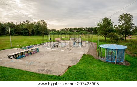 A View To The Skate Park And Children Playground In Westfield Park In Aberdeen, Scotland