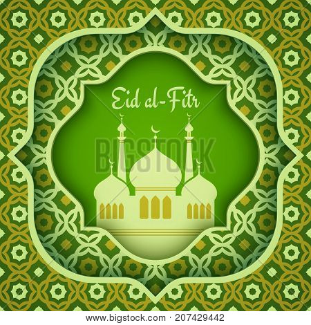 Vector greeting card for Eid al Fitr.