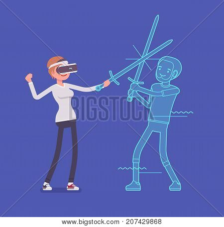 VR woman sword fighting action. Holding armor, enjoying interactive combat technology to stimulate real game of another world. Virtual reality and entertainment. Vector flat style cartoon illustration