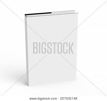 3D rendering hardcover book standing single book mockup isolated on white background elevated view