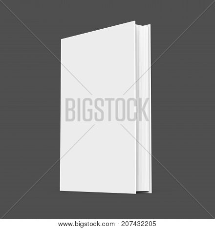 3D rendering hardcover book standing single book mockup isolated on dark background