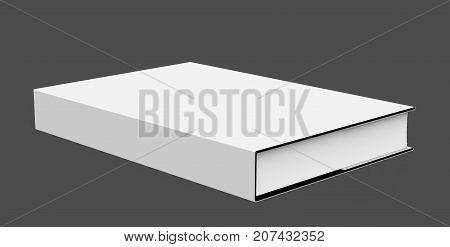 3D rendering hardcover book single book mockup lie down on dark background