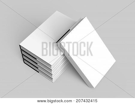3D rendering hardcover books five books mockup pile up and isolated on light gray background elevated view