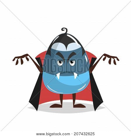 Cartoon candy corn vampire costumed character. Dracula suit. Halloween humanized sweet symbol for party poster and decoration.