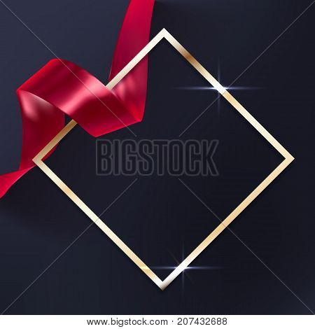Red vector ribbon and elegant golden frame on black background luxury banner template. Award ceremony background.