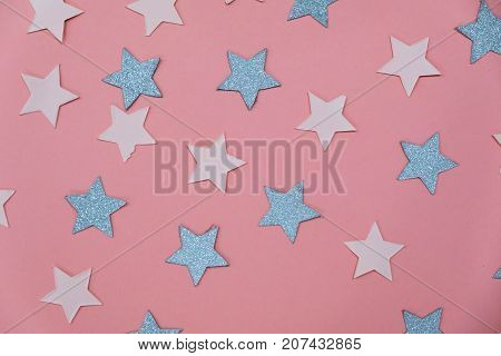 Star Sprinkles On Pink. Festive Holiday Background. Celebration Concept. Top View, Flat Lay. Horizon