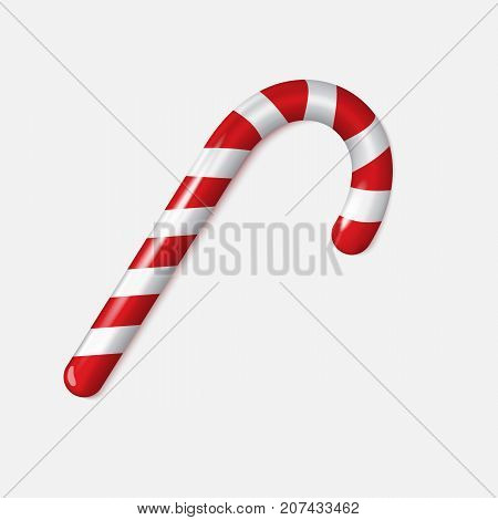 Realistic Xmas candy cane isolated on white . Vector illustration. Top view on icon. Template for greeting card on Christmas and New Year.