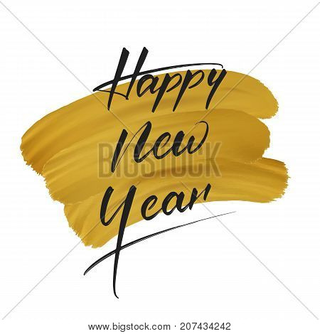 New Year. Greeting card with New Year calligraphy and gold paint smudges. Festive background for winter holidays.