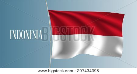 Indonesia waving flag vector illustration. White red elements as a national Indonesian symbol