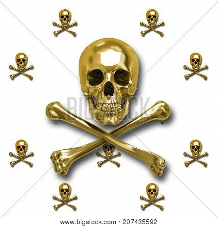 Golden Skull and Crossbones, 3D, Isolated Against a White Background.