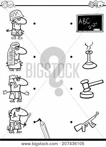Match Professions Educational Coloring Book