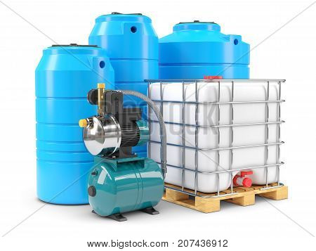 Equipment For Autonomous Water Supply. Pumping Station And Pvc Water Tanks