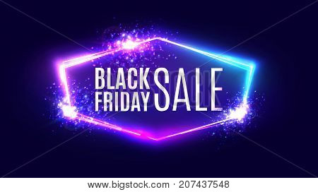 Black friday sale banner on neon background. Holiday shopping sign with flares and sparkles. Night club electric techno frame with explosion, firework and light. 3d discount bokeh vector illustration.