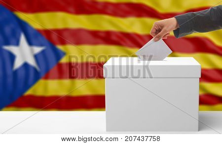 Voter Hand On A Catalonia Waving Flag Background. 3D Illustration