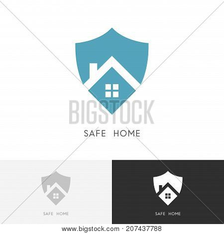 Safe home logo - house with window and chimney on the roof and shield symbol. Defense, security and real estate vector icon.