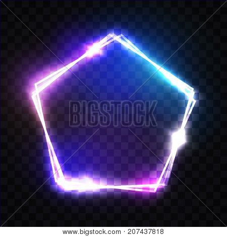 Abstract Neon Pentagon Electric Frame On Transparent Background. Night Club Sign. 3d Retro Light Signboard With Neon Effect Techno Frame On Dark Blue Backdrop Colorful Vector Illustration In 80s Style