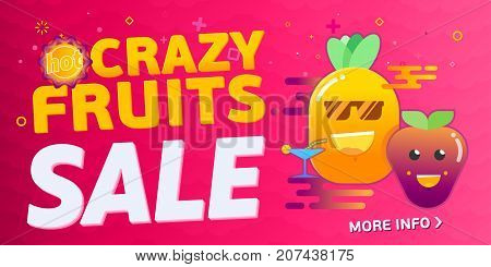 Crazy Vector Fruit and berry sale multypurpose banner