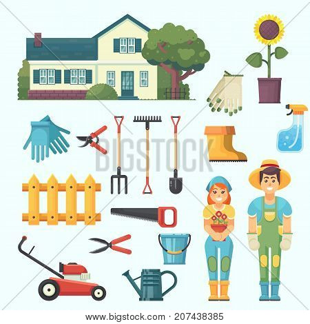 Garden and orchard. House garden tree tools watering gardener man and woman agrarian character. Vector flat illustration and icon set eps10