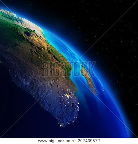 Earth continents. Elements of this image furnished by NASA 3d rendering