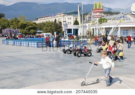 Yalta,Crimea,April 28, 2008: Lenin Embankment in Yalte.Crimea under Ukrainian jurisdiction. Six years before the Russian annexation of Crimea