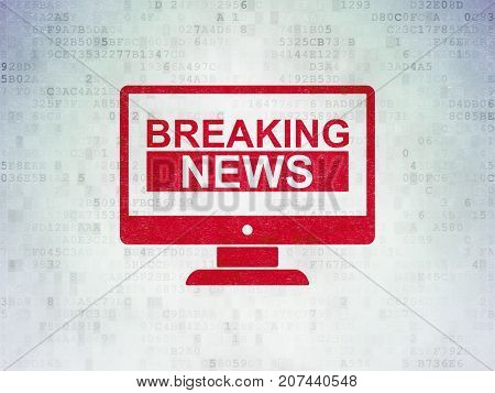 News concept: Painted red Breaking News On Screen icon on Digital Data Paper background