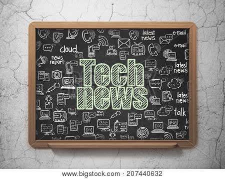 News concept: Chalk Green text Tech News on School board background with  Hand Drawn News Icons, 3D Rendering