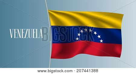 Venezuela waving flag vector illustration. Red yellow blue stripes as a national Venezuelan symbol