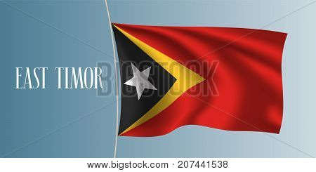 East Timor waving flag vector illustration. Red yellow black colors as a national East Timor symbol