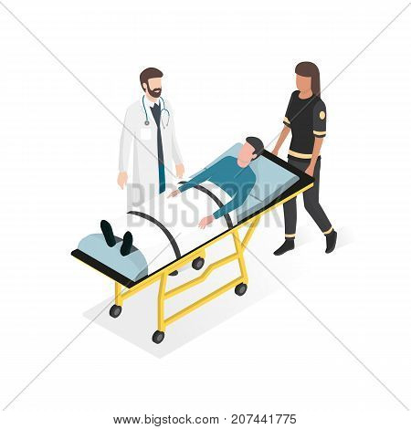 First aid at the hospital: doctor and paramedic taking care of the patient during an emergency