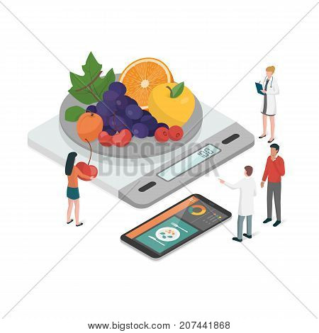 Nutritionists planning a diet using a food measuring scale and a food app on the smartphone diet and nutrition concept
