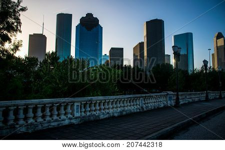 Houston , Texas , USA Skyline Cityscape at Sabine Street Bridge outlook at Dawn