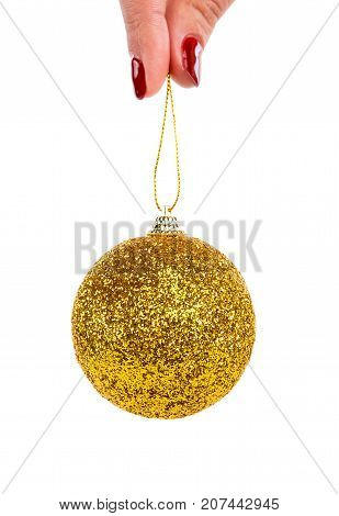 Christmas Tree Decorative Toy Yellow Bubble Ball With Sparkles