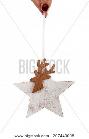Wooden Christmas Tree Decorative Toy White Star