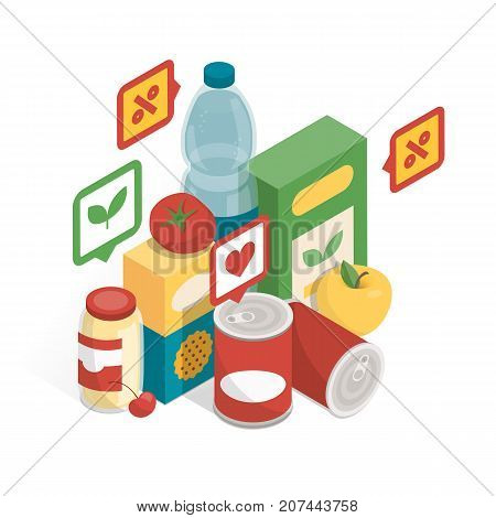 Grocery products and icons providing informations for the customers grocery shopping and augmented reality concept poster